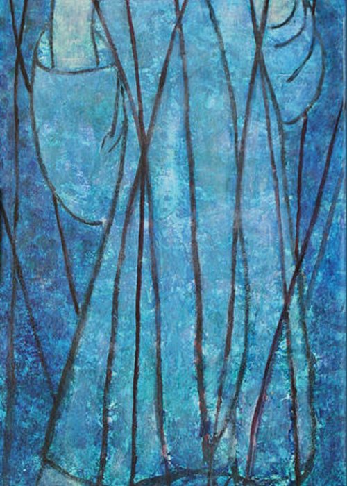 Judaica Greeting Card featuring the painting Faith At The Sea Of Reeds by Mordecai Colodner