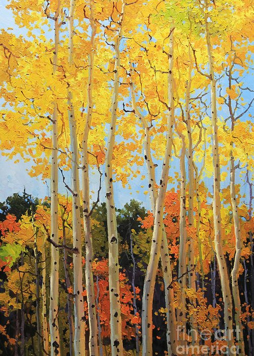 Nature Greeting Card featuring the painting Fall Aspen Santa Fe by Gary Kim