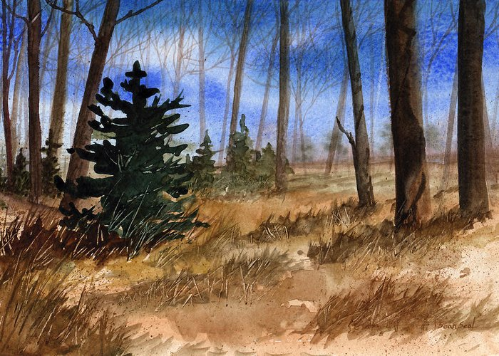 Landscape Greeting Card featuring the painting Fall Meadow by Sean Seal