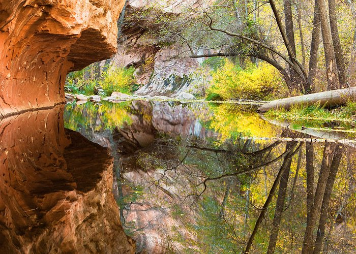 Canyon Greeting Card featuring the photograph Fall Reflections by Carl Amoth