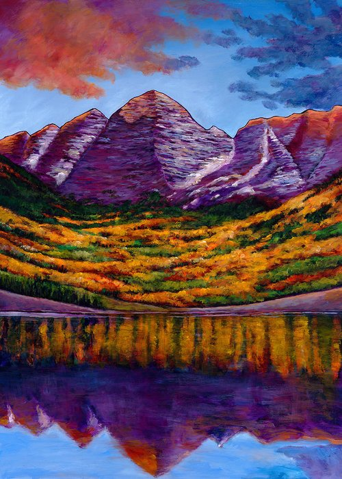 Landscapes Greeting Card featuring the painting Fall Symphony by Johnathan Harris