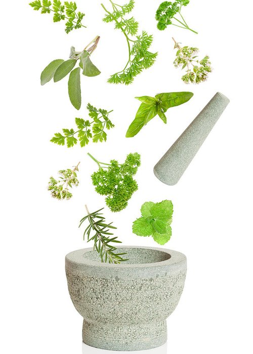 Pestle Greeting Card featuring the photograph Falling Herbs by Amanda And Christopher Elwell