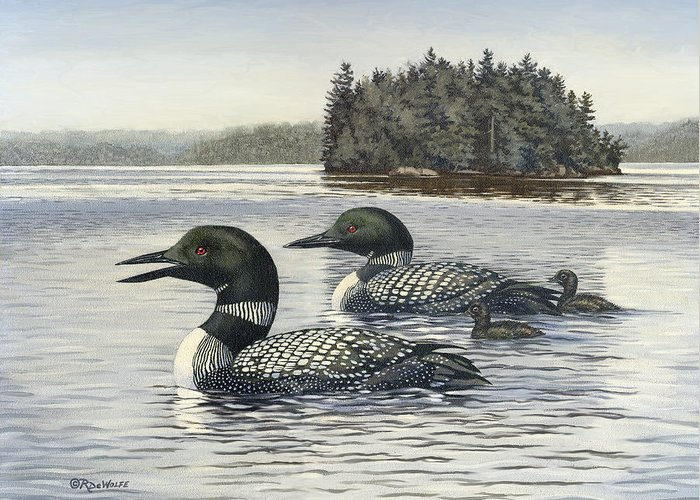 Common Loon Greeting Card featuring the painting Family Outing by Richard De Wolfe