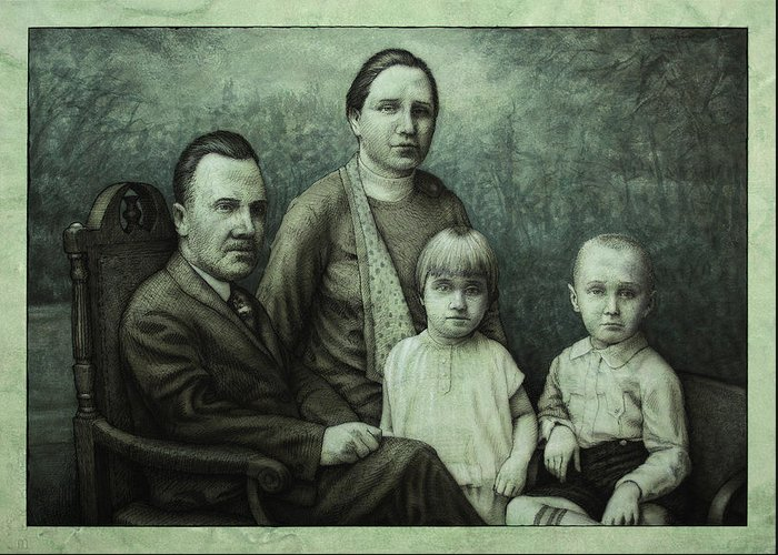 Vintage Greeting Card featuring the painting Family Portrait by James W Johnson
