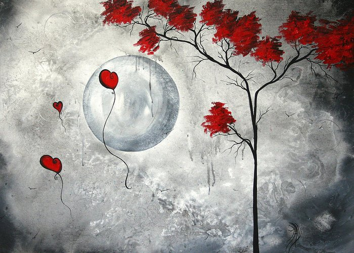 Abstract Greeting Card featuring the painting Far Side Of The Moon By Madart by Megan Duncanson