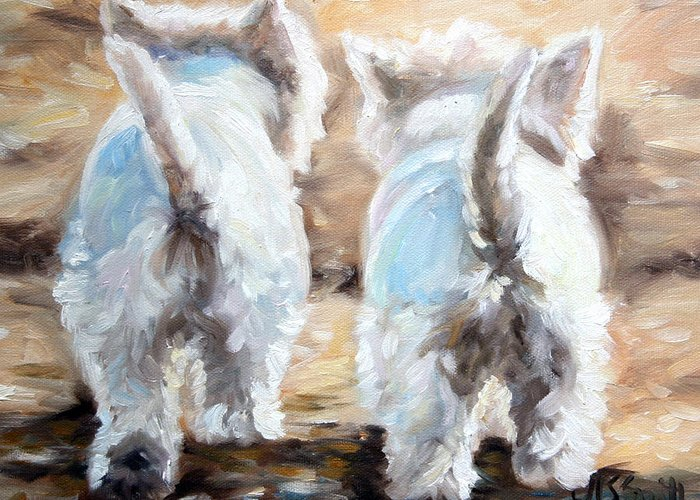 Westie Greeting Card featuring the painting Farewell by Mary Sparrow