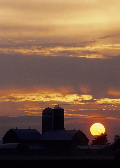 Farm Greeting Card featuring the photograph Farm At Sunset by Steve Somerville
