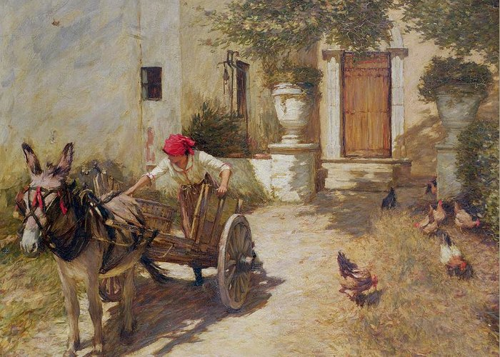 Farm Greeting Card featuring the painting Farm Yard Scene by Henry Herbert La Thangue