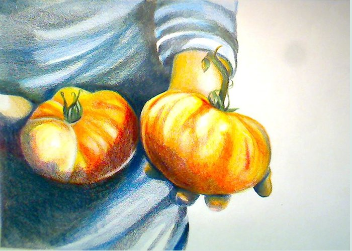 Food Greeting Card featuring the drawing Farmers Market 1 by Cami Rodriguez