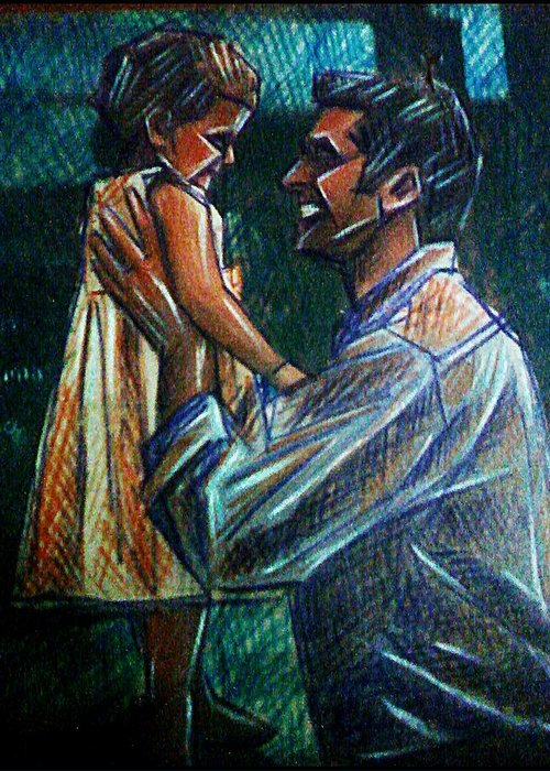 Father And Daughter Greeting Card featuring the mixed media Father And Daughter by Paulo Zerbato