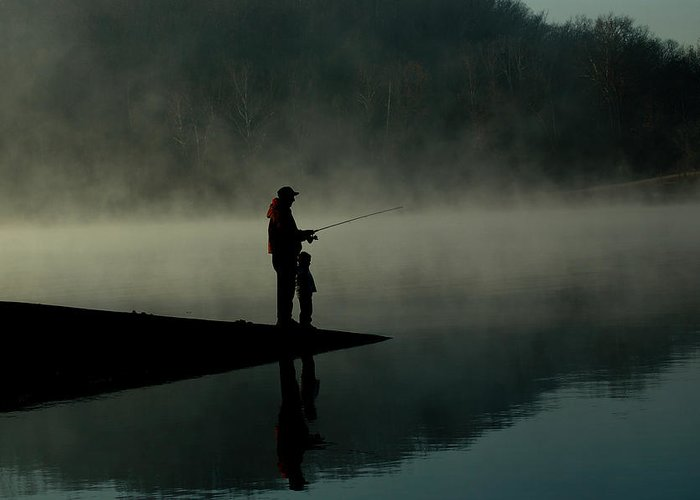 Father Greeting Card featuring the photograph Father And Son Fishing by Shawn Wood