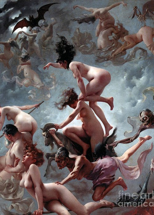 Naked Greeting Card featuring the painting Faust's Vision by Luis Riccardo Falero