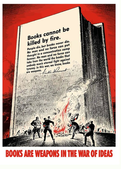 Book Burning Greeting Card featuring the painting Fdr Quote On Book Burning by War Is Hell Store