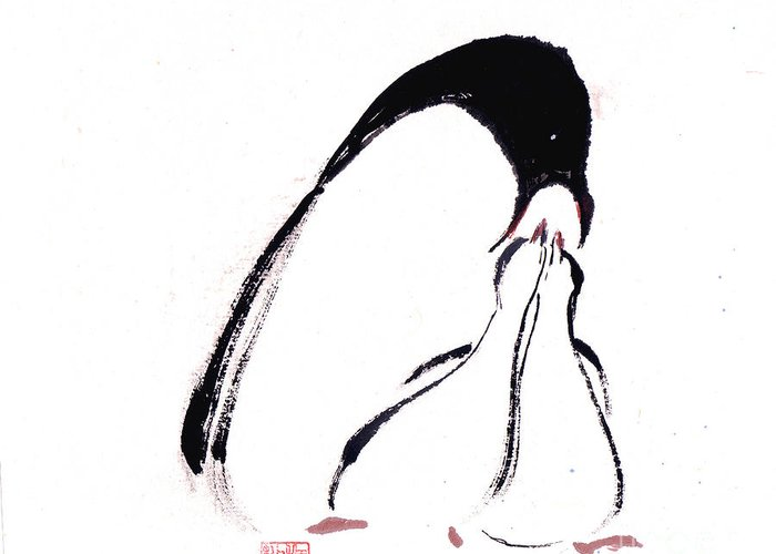 An Adult Penguin Feeding The Babies. This Is A Contemporary Chinese Ink And Color On Rice Paper Painting With Simple Zen Style Brush Strokes.  Greeting Card featuring the painting Feeding by Mui-Joo Wee