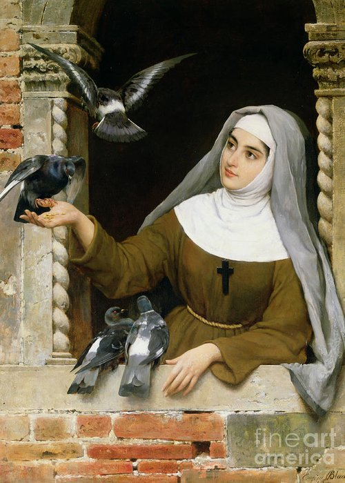 Feeding The Pigeons Greeting Card featuring the painting Feeding The Pigeons by Eugen von Blaas