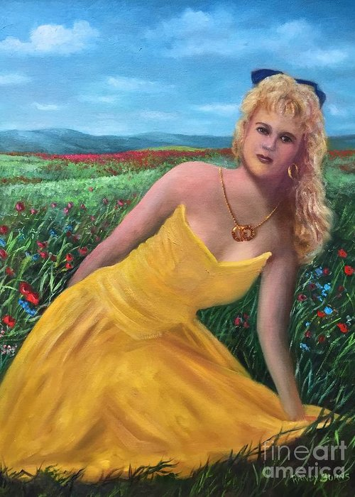 Sister Greeting Card featuring the painting Felicia by Randy Burns aka Wiles Henly
