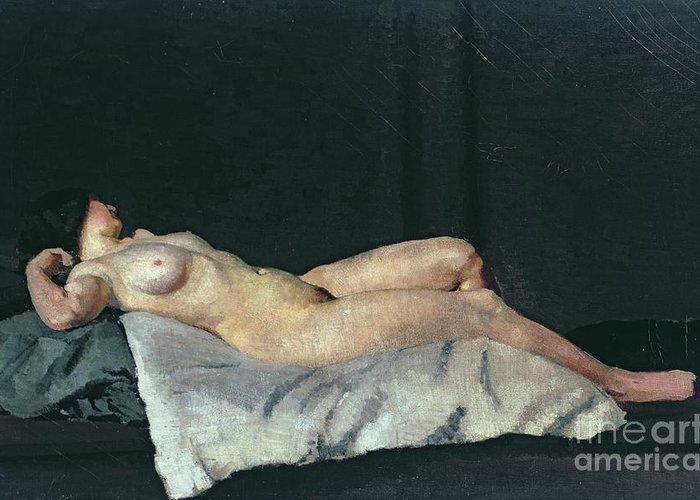 Female Figure Lying On Her Back Greeting Card featuring the painting Female Figure Lying On Her Back by Dora Carrington