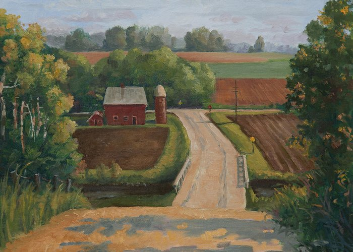 Farm Greeting Card featuring the painting Fertile Farm by Sandra Quintus
