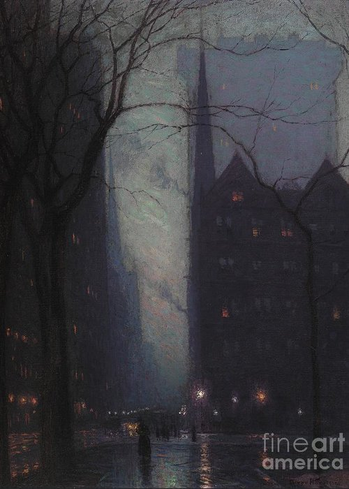 Fifth Greeting Card featuring the painting Fifth Avenue At Twilight by Lowell Birge Harrison