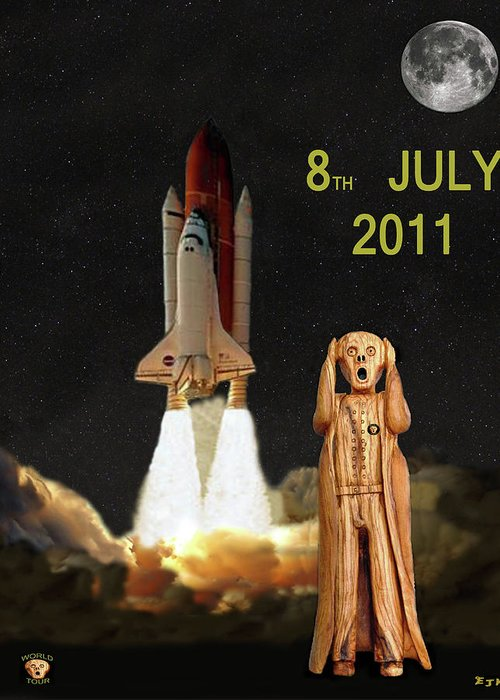 Final Shuttle Mission 8th July 2011 Greeting Card featuring the mixed media Final Shuttle Mission 8th July 2011 by Eric Kempson