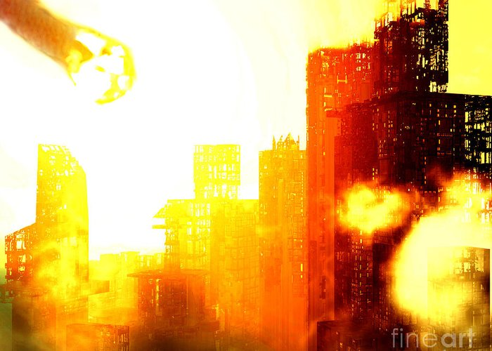 Meteor Showe Greeting Card featuring the digital art Final Strike by Richard Rizzo