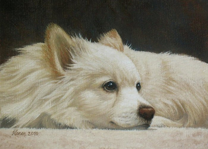 Dog Greeting Card featuring the painting Finley by Karen Coombes