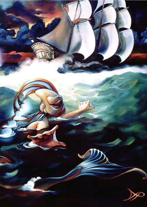 Seafarer Greeting Card featuring the painting Finnegan's Quest by Patrick Anthony Pierson