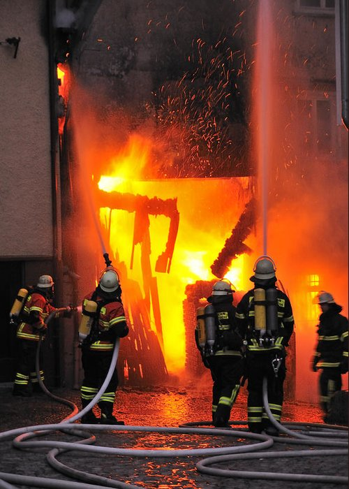 Fire Greeting Card featuring the photograph Fire - Burning House - Firefighters by Matthias Hauser