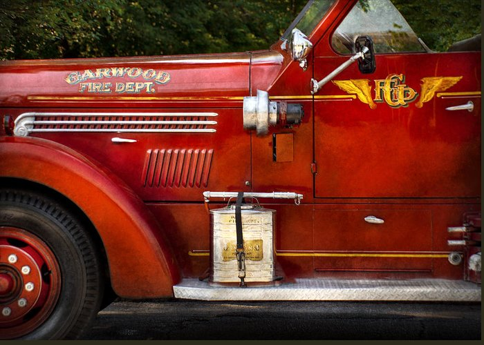 Hdr Greeting Card featuring the photograph Fireman - Garwood Fire Dept by Mike Savad