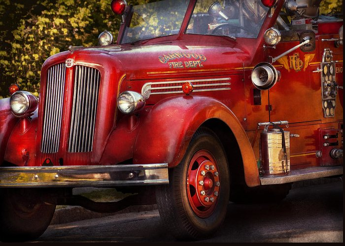 Hdr Greeting Card featuring the photograph Fireman - The Garwood Fire Dept by Mike Savad