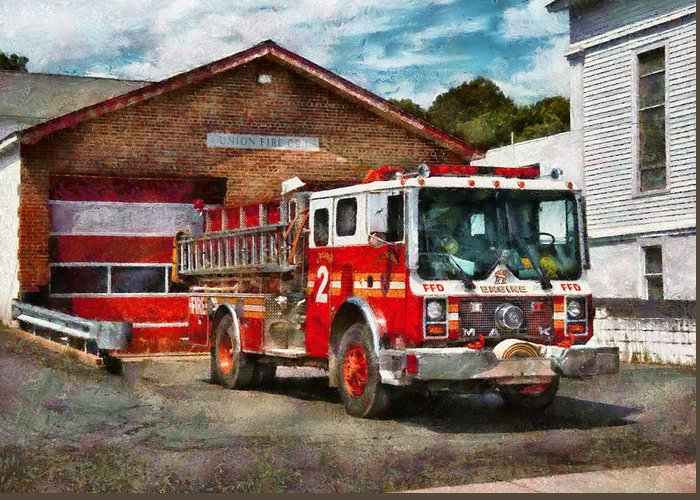 Hdr Greeting Card featuring the photograph Fireman - Union Fire Company 1 by Mike Savad
