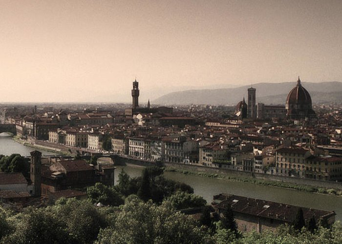 Firenze Greeting Card featuring the photograph Firenze At Sunset by Andrew Soundarajan