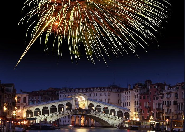 Rialto Bridge Greeting Card featuring the photograph Fireworks Display, Venice by Tony Craddock