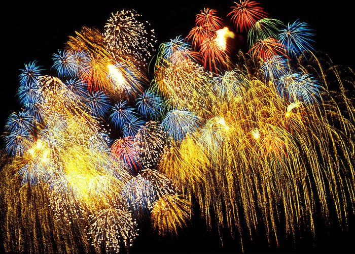 4th Of July Greeting Card featuring the photograph Fireworks Exploding by Garry Gay