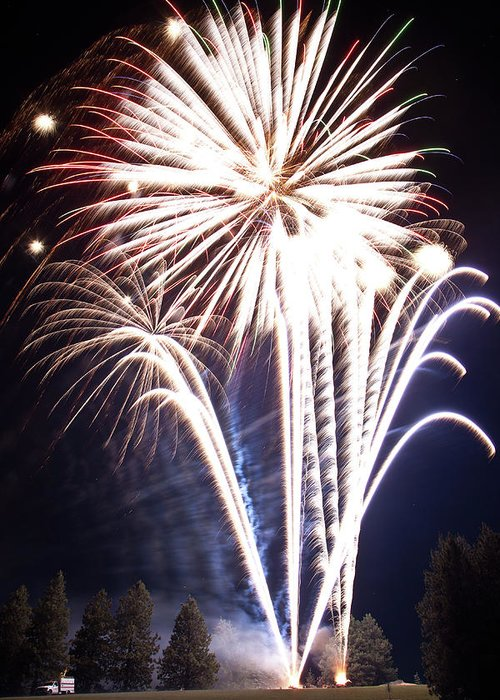 Fireworks Greeting Card featuring the photograph Fireworks No.3 by Niels Nielsen