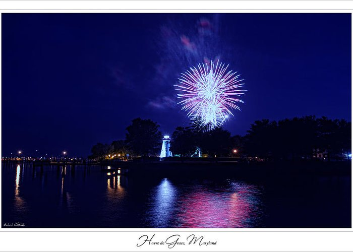 Concord Point Lighthouse Greeting Card featuring the photograph Fireworks Over Concord Point Lighthouse Havre De Grace Maryland Prints For Sale by Michael Grubb