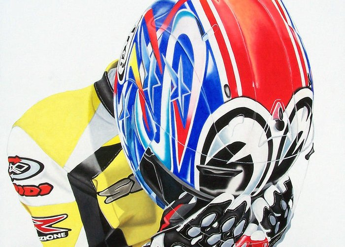 Motorcycle Rider Motosport Racing Self Portrait Spidi Leather Suit Arai Figurative Realism Dark Greeting Card featuring the painting First Breath From Coma by Ian Hemingway