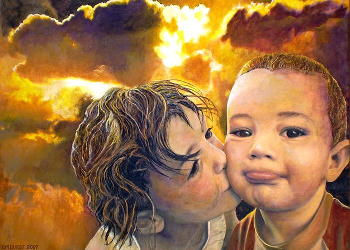 Children Greeting Card featuring the painting First Kiss by Michael Durst