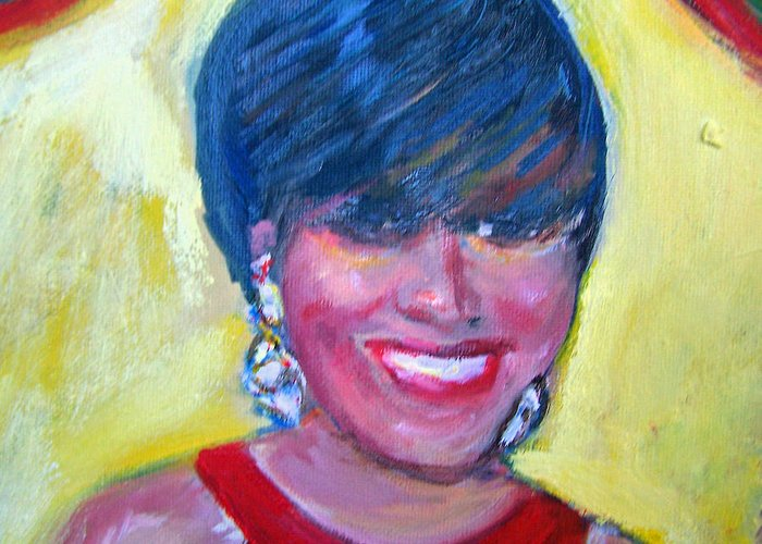 Portrait Greeting Card featuring the painting First Lady In Red by Patricia Taylor