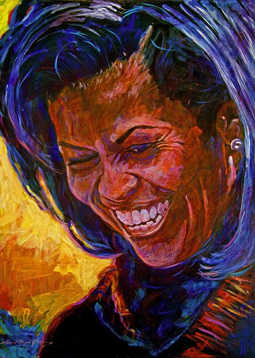 Michele Obama Artwork Greeting Card featuring the painting First Lady Michele Obama by David Lloyd Glover