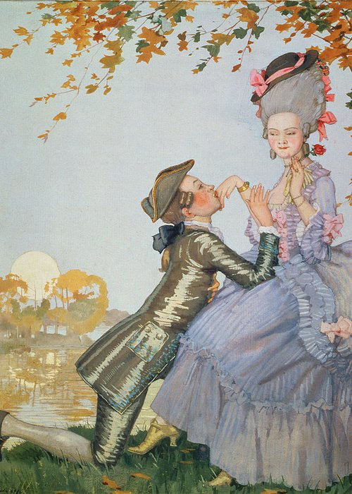 First Love Greeting Card featuring the painting First Love by Konstantin Andreevic Somov
