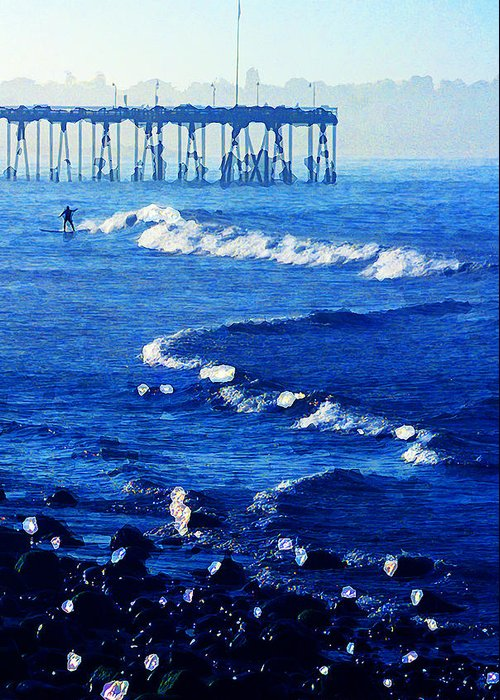 First Up At Surfer's Point Greeting Card featuring the photograph First Up by Ron Regalado