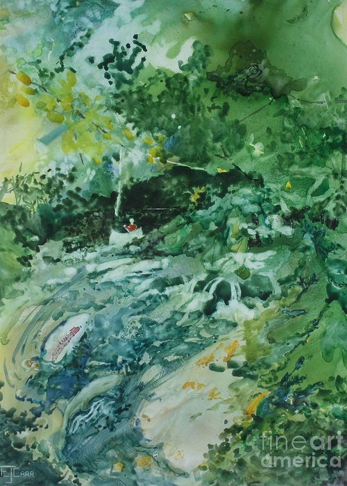 Green Greeting Card featuring the painting Fish Ahead by Elizabeth Carr
