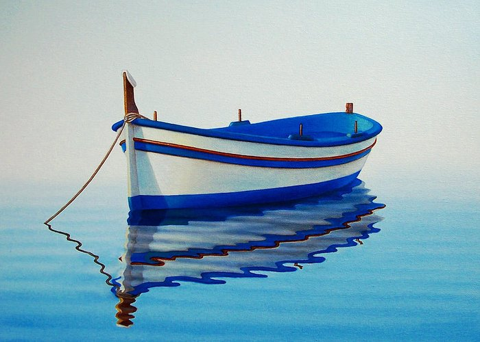 Fishing Greeting Card featuring the painting Fishing Boat II by Horacio Cardozo
