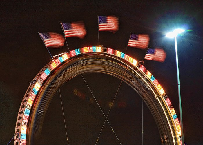 Carnival Images Greeting Card featuring the photograph Five Flags by James BO Insogna