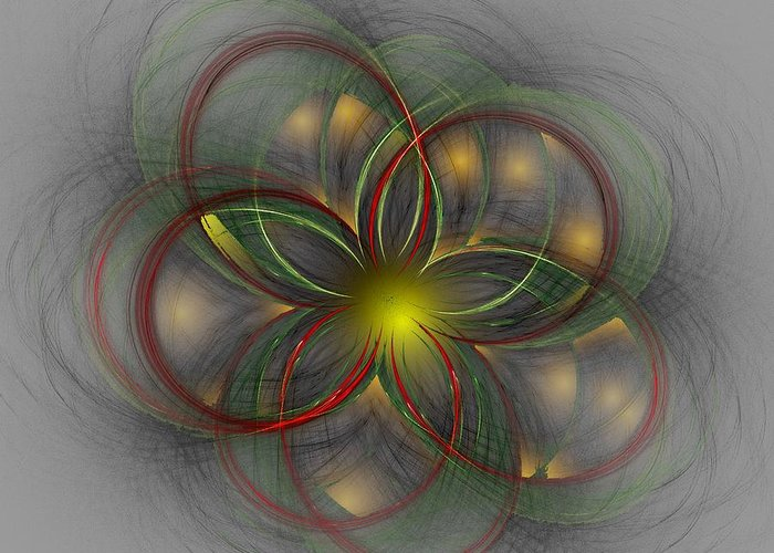 Abstract Digital Painting Greeting Card featuring the digital art Floral Fractal 11-24-09 by David Lane