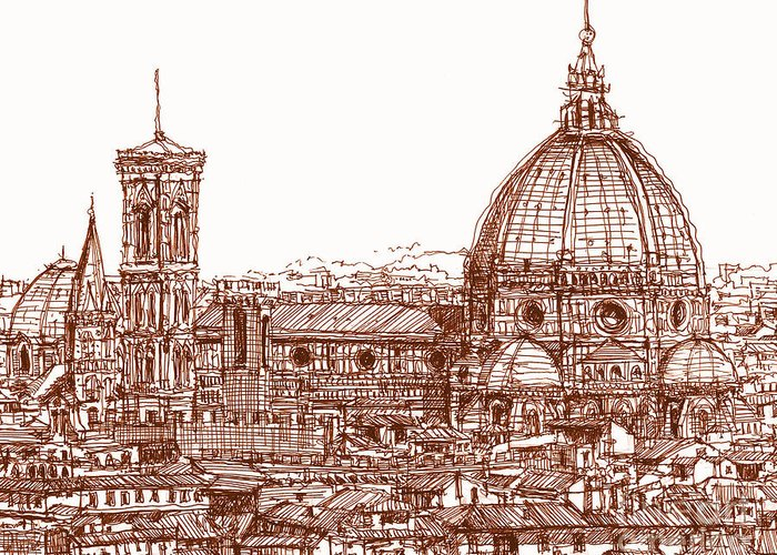 Florence Greeting Card featuring the drawing Florence Duomo In Red by Adendorff Design