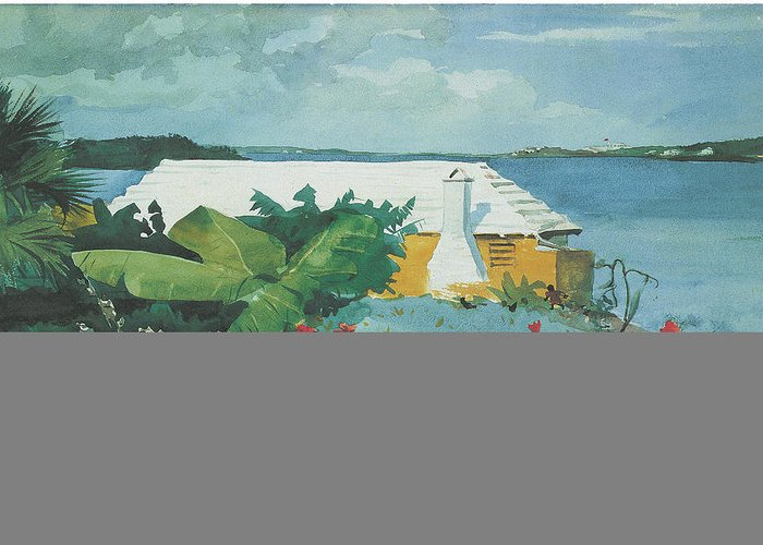 Winslow Homer Greeting Card featuring the painting Flower Garden And Bungalow Bermuda by Winslow Homer