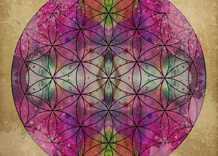 Mandala Greeting Card featuring the digital art Flower Of Life by Filippo B