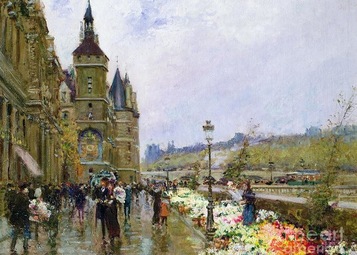 Flower Sellers By The Seine Greeting Card featuring the painting Flower Sellers By The Seine by Georges Stein